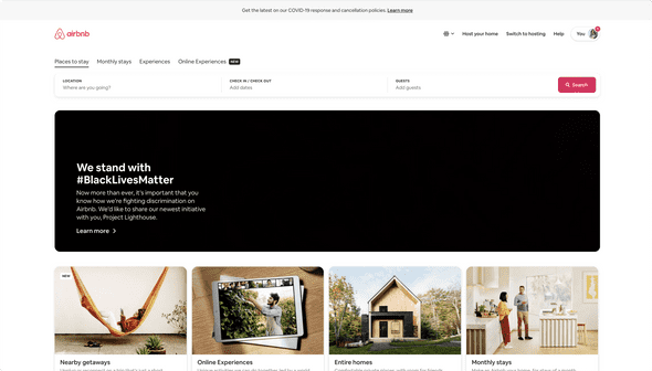 Airbnb's home page featuring a large banner for #BlackLivesMatter.