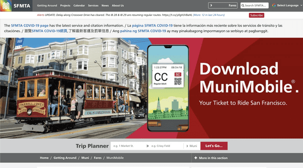 The SFMTA home page uses a bunch of red and has a huge picture of a cable car. Does anyone actually take a cable car?