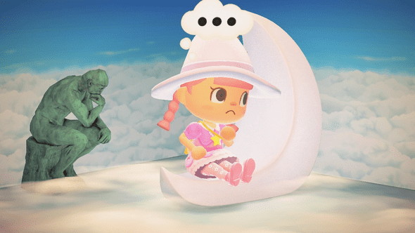 animal crossing villager sitting on a crescent moon contemplating with the thinker statue