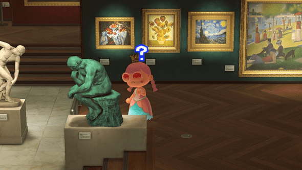 An animal crossing villager in an art museum thinking next to the Thinker statue.